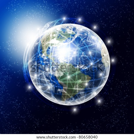 our planet earth with communication links around - stock photo