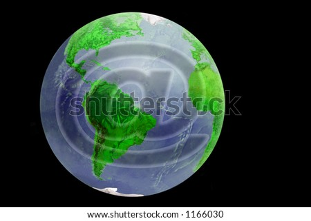 Our planet with the e-mail sign - stock photo