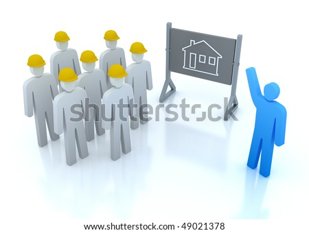 Our team is ready to build the house - stock photo