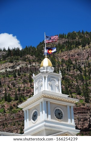 Ouray city hall's tower in Ouray, CO, USA - stock photo