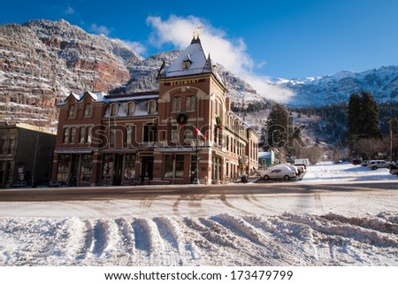 Ouray, Colorado-January 8, 2012: Old hotel in small mountain town of Ouray, Colorado. - stock photo