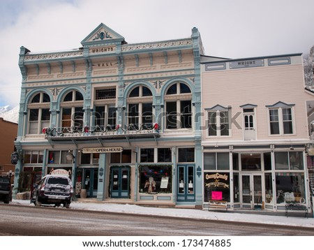 Ouray, Colorado-January 8, 2012: Old opera house in small mountain town of Ouray, Colorado.