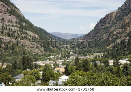 Ouray, Colorado, looking North - stock photo