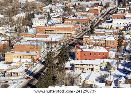 Ouray downtown,  during winter day - stock photo