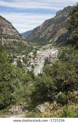 Ouray Main Street from Highway 550 - stock photo