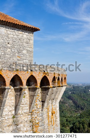 Ourem Castle and its lookout tower from the rear. This castle constructed during the 13th century and is located in Portugal. - stock photo