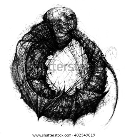 Ouroboros. snake eating its tale. Ouroboros line sketch. Infinity, eternal life symbol. Tattoo design. Alchemy medieval science.With white background - stock photo
