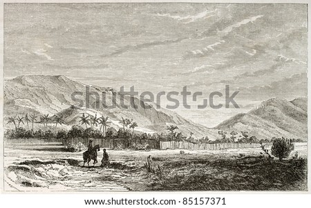 Ousagara region old view, eastern Africa. Created by Lavieille after Burton, published on Le Tour du Monde, Paris, 1860 - stock photo