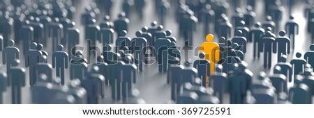 Out from the crowd conceptual image, original 3d illustration rendering - stock photo