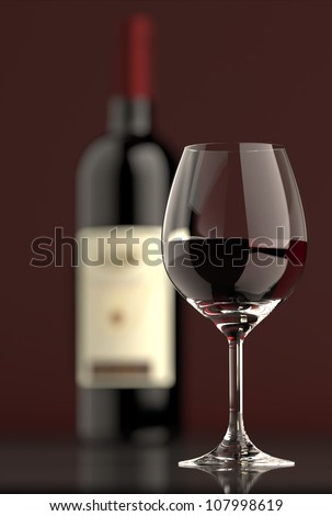 Out of focus Bottle of red wine with dark glass on bottom and top reflective. - stock photo