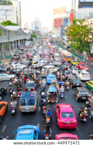 Out of Focus Image of a Busy Road in Bangkok