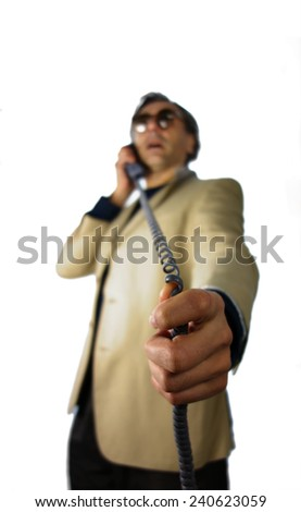 out of focus man telephone handset calling - stock photo