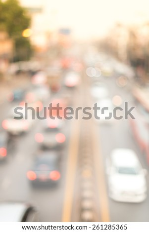 Out of Focus , Pollution of environment by smoke car - stock photo