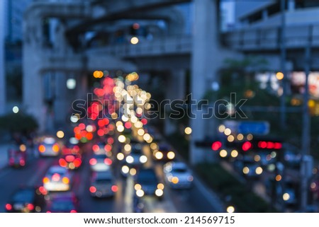 Out of focus traffic and lights - stock photo