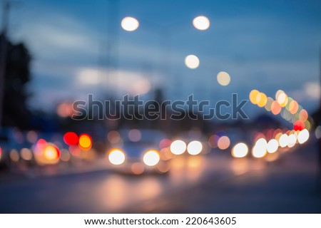 Out of focus traffic and lights in twilight time  - stock photo