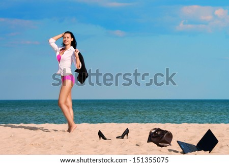 Out of office � vacation at sea - stock photo