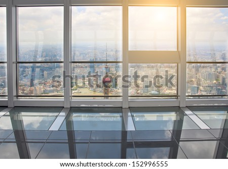 Out of the window is Shanghai lujiazui financial center - stock photo