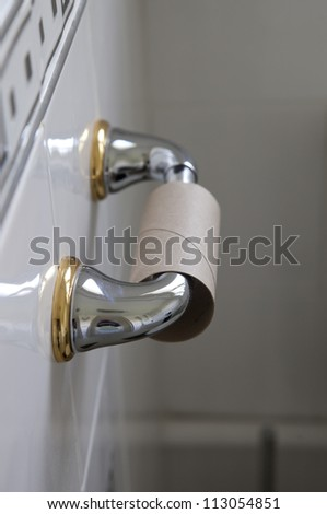 out of toilet paper dilemma - stock photo