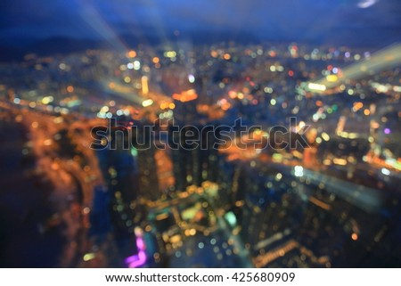 out off focus  from high building and big city Hongkong - stock photo