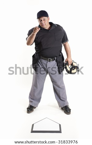 Out - Professional baseball umpire on white background - stock photo