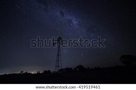 Outback Australia under the night sky - stock photo
