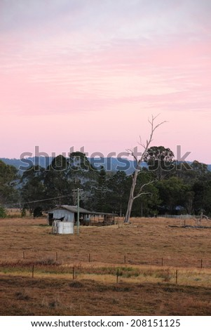 Outback australian farmland hut shed shack queensland - stock photo