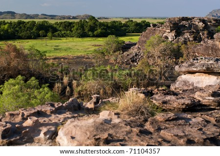 Outback Rocks and Bottomland - stock photo