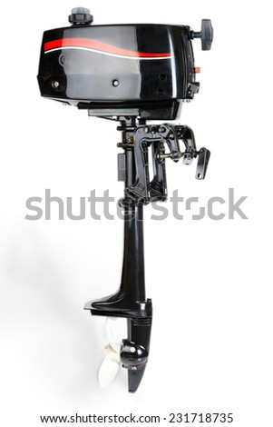 Outboard boat motor studio isolated on white background, saved with clipping path - stock photo