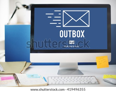 Outbox Inbox Email Connection Global Communications Concept - stock photo
