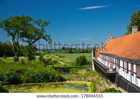 Outbuildings at Castle Dragsholm in Denmark. - stock photo