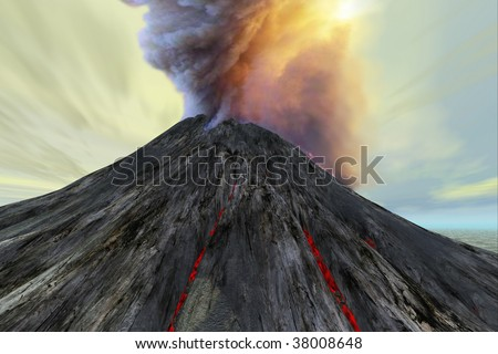 OUTBURST - An active volcano belches smoke and ash into the sky. - stock photo
