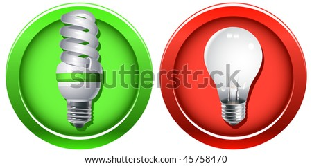 Outdated incandescent light bulb banned and a new fluorescent bulb as a replacement