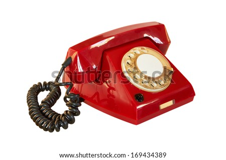 outdated red telephone isolated on white background - stock photo