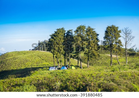 outdoor activities and camping on the hill - stock photo
