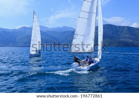 Outdoor activities. Match Racing Tour. The sailing yachts - stock photo