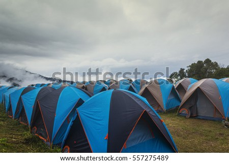 Outdoor activity tents camping among the mountain at Doi Samer Dao, Thailand.