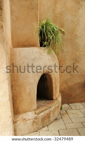 outdoor Adobe Fireplace - stock photo