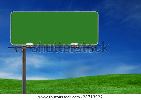 Outdoor Advertising Billboard Freeway Sign in Natural Setting - stock photo
