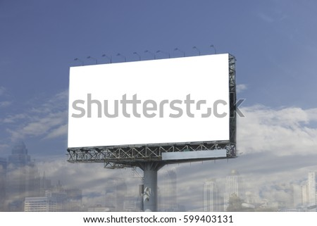 Outdoor advertising billboard with blank space for text.
