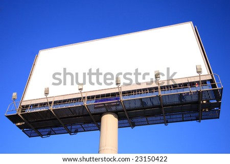Outdoor advertising billboard with blank space for text. Clipping path included.