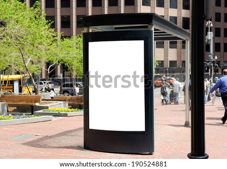 Outdoor advertising, bus shelter - stock photo