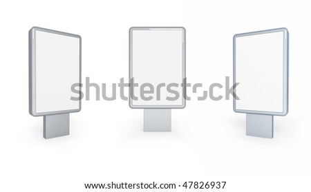 Outdoor advertising construction with white surface. - stock photo