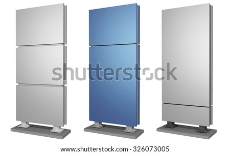 Outdoor advertising set made of metal - stock photo