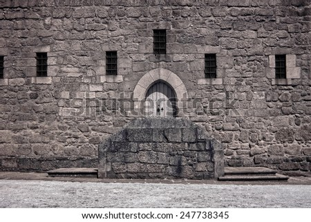 Outdoor architectural details of the the Dukes of Braganca palace, fifteenth century, Guimaraes, Portugal - stock photo