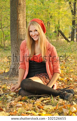 Outdoor autumn  portrait of beautiful sexy girl
