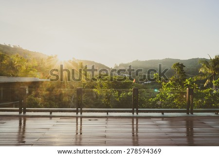 Outdoor balcony deck - vintage filter - stock photo