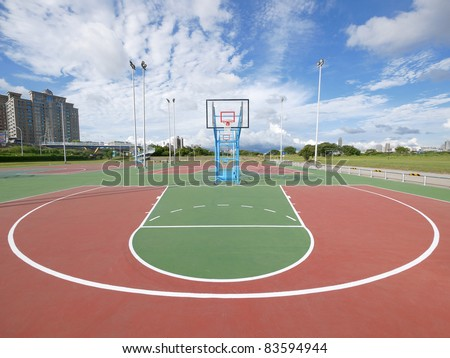 Outdoor basketball court - stock photo