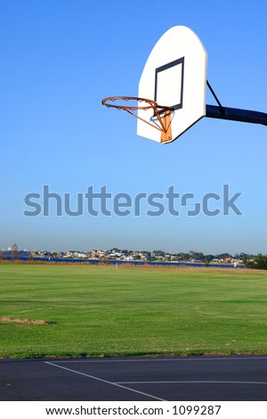 Outdoor basketball court -  in the park - stock photo