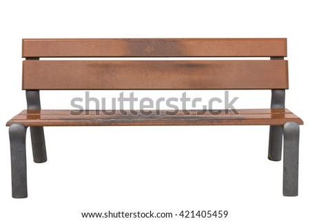 outdoor bench isolated on white background - stock photo