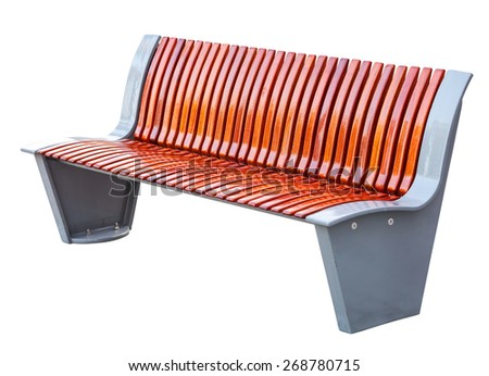 Outdoor bench isolated on white background. With clipping path. - stock photo